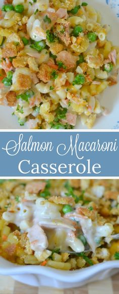 Salmon Macaroni Casserole Recipe from Hot Eats and Cool Reads! This delicious and family friendly comfort food casserole can be on the table in an hour! Use canned salmon, leftover cooked salmon fillets or even give tuna a try! Canned Salmon Recipes, Fish Recipes, Seafood Recipes, Pasta Recipes, Cooking Recipes, Healthy Recipes, Potato Recipes, Leftover Salmon Recipes, Crockpot Recipes
