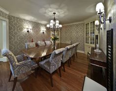 Damask On The Chairs Walls No Rug Very Strange Macintosh Style Dining Room DesignDining