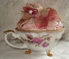 pin cushion in a tea cup