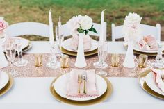Pink and gold table setting | Pink + Gold Bridal Shower Brunch Inspiration — TrueBlu