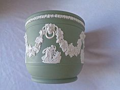 Wedgwood Green/White Jasperware Decorative Planter w/Garland & Muses, England