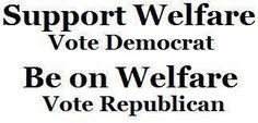 Support Welfare Vote Democrat - Be on Welfare Vote Republican