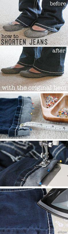Esta es la forma de acortar sus pantalones vaqueros , manteniendo el dobladillo original! Un buen truco para volver a colocar el dobladillo mantendrá sus pantalones vaqueros de mirar sin terminar