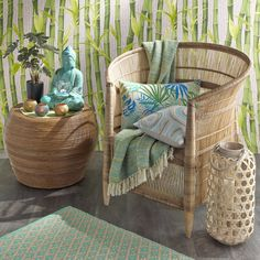 Woven bamboo and rattan armchair Malawi | Maisons du Monde