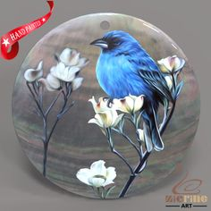 HAND PAINTED FLOWERS&BIRDS  SHELL CREATIVE NECKLACE PENDANT ZP30 01735 #ZL #PENDANT