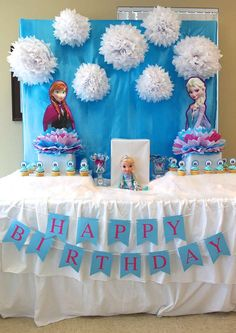 Dessert table at a Frozen birthday party! See more party planning ideas at CatchMyParty.com!