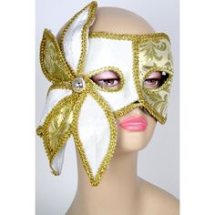Brocade Flower Mask: Gold Image