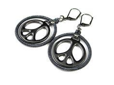 Peace Sign Earrings Black #Peace Sign #Earrings Gunmetal Peace #bmecountdown