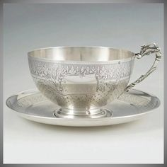 Antique Century French Sterling Silver Large Cup & Saucer, Swan Handle, Chocolate, Tea or Coffee, Teacup Coffee Cups, Tea Cups, Royal Tea, Coffee Accessories, Vintage Tea, Vintage Silver, Antique Silver, Tea Sandwiches, Teapots And Cups