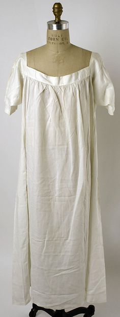 Nightgown, circa 1859, linen, European or American, nice light simple, short sleeve, open collar, pull-over, ideal for hot summer nights, in storage at the Met.