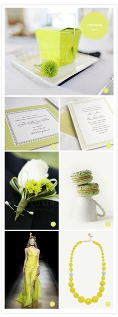 Chartreuse & dove grey - our wedding colours