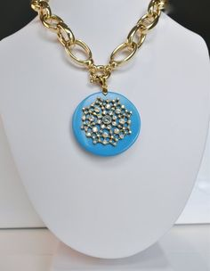Large Turquoise and Gold Constellation Medallion | Deliciously Beautiful Things to Wear and Home Decor.
