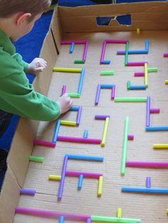 Onderwijs en zo voort ........: 2141. Knikkerbanen : Met rietjes in een kartonnen ...