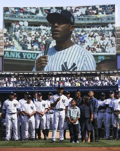New York Yankees relief pitcher Mariano Rivera (42) addresses the crowd as he is honored in a pregame ceremony at Yankees Stadium against the San Francisco Giants, Sunday, Sept. 22, 2013, in New York. The 13-time All-Star closer is retiring at the end of this season. (AP Photo/John Minchillo)