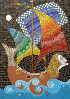 Magic Ship, Mosaic by Irina Charny: Glass, porcelain, millefiori,  beads, gold / http://www.icmosaics.com