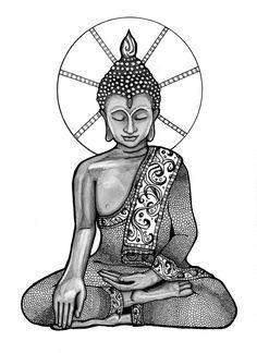 Buddha Illustration pitt pens and pencil