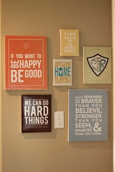 for the wall art projects >>> white letters with different color painted backgrounds to match scheme  >> bsmt and livingroom