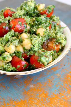 Lemon Quinoa Cilantro Chickpea Salad  from The Diva Dish