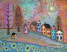 Karla G Paintings - Small Village  by Karla Gerard