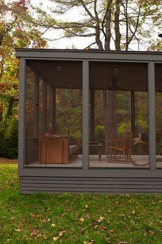 a screened in porch