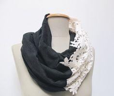 Weiteres - loop spitze und jersey dunkelgrau - ein Designerstück von StAnderswo bei DaWanda