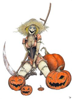 Scythe, patched clothes, straw hat, Halloween, orange and black, checked shirt.