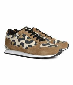 Suede sneakers with a leopard print pattern. H&M #HMSHOES