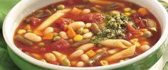 Minestrone-style soups never disappoint. Try this one, with plenty of pasta, creamy cannellini beans, vegetables, and a dollop of prepared pesto.