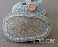 Mary-Jane Crochet Baby Shoe Kit - with wool felt soles and soft sheen yarn.