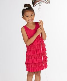 Another great find on #zulily! Magenta Lace Tiered Dress - Toddler & Girls by FabKids #zulilyfinds