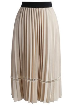 1b121e4c19 Hint of Sassy Pleated Midi Skirt in Beige - New Arrivals - Retro, Indie and