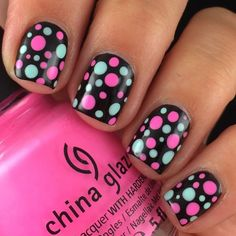 Polka Dotted Circle nail art: five color colour design: navy blue base (Hema) with golden, aqua turquoise blue