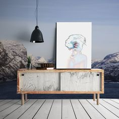 Interior design. Beautyful Norwegian Lysefjord as wallpaper. Photography art - on William Turner paper.