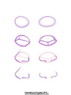 Cartoon Nose Formulas Drawing naturalistic noses is almost as complicated as drawing naturalistic eyes. HOWEVER drawing cartoon noses isn't nearly as hard. Drawing Websites, Drawing Lessons, Drawing Techniques, Drawing Tips, Drawing Sketches, Sketching, Cartoon Drawings, Cartoon Art, Easy Drawings