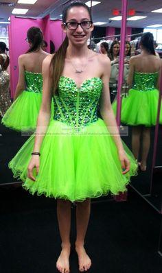 Neon Green Short Prom Dresses   nik prom 17   Pinterest   Neon ...