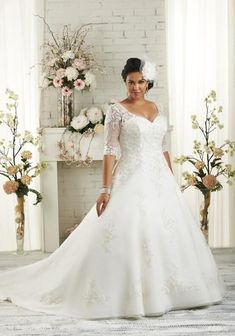Half Sleeves Plus Size Wedding Dresses 2016 A-line White Tulle Appliques Lace Bridal Gowns Maxi Dress For Big Size Brides 2017