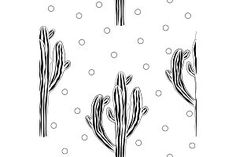 Cute cactus seamless vector pattern with graphic saguaro and doodle dots. Cacti fabric print design. illustrations to enhance webpages posters cards and documents. These illustration sets include watercolor hand-drawn and vector sets to use in projects for the web and print.