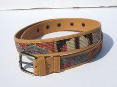 Unique Cream Turkish Kilim Men's Belt. Handmade by HandcraftMade, $55.00