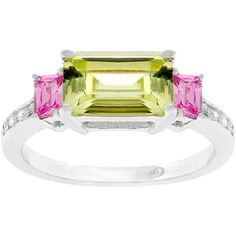 Kate Bissett Sterling Silver  and  Cubic Zirconia Ring (£25) ❤ liked on Polyvore featuring jewelry, rings, cz jewelry, sterling silver cubic zirconia rings, pink zirconia ring, emerald cut cz ring and pink cz ring