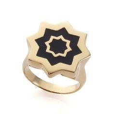 ABRAHAM GOLD BLACK RING
