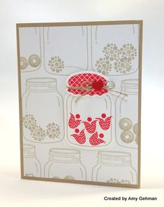 This creation reminds me of photographs in which only a small part of  neutral monotone photo is colored.  Way to go my Gehman, one of Mary Fish's Stampin Pretty Pals.
