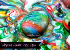 """Whipped Cream Dyed Eggs (An safer alternative to """"Shaving cream eggs"""")"""