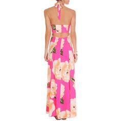 Vestido farm roda saia Rosa decotado vestido longo verão  Long dress pink summer