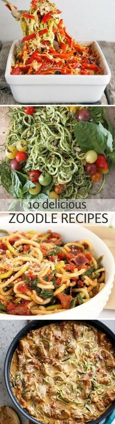 10 Delicious Zoodle (Zucchini Noodle) Recipes use vegan substitutes for meat and dairy Zucchini Noodle Recipes, Zoodle Recipes, Spiralizer Recipes, Vegetable Recipes, Vegetarian Recipes, Healthy Recipes, Vegetarian Tapas, Veggetti Recipes, Keto Recipes