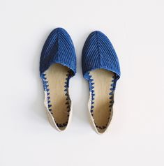 $138.00  Color blocked, cobalt blue and natural raffia d'Orsay slip on. Casual chic, hand made in Morocco.