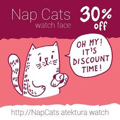 #sale #deal #discount #weekly #promo #cats #nap #sleep #doodle #analog #watchface #smartwatch #wearable #androidwear #lggwatchr #moto360 #design #apparel