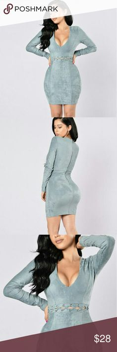 FASHION NOVA DRESS TO KILL DRESS-BLUE GREY LARGE FASHION NOVA  DRESS TO KILL DRESS-BLUE GREY  Size LARGE  *Suede Dress *Fitted *Knee Length *Long Sleeves *Deep V Neckline *Cutout Front Detail Mid-Drift *Zip Up Back Closure *Lace Middle *92% Polyester 8% Spandex  BEAUTIFUL DRESS !! BRAND NEW!! WITH TAGS!!  https://www.fashionnova.com/products/dressed-to-kill-dress-blueish-grey Fashion Nova Dresses Mini