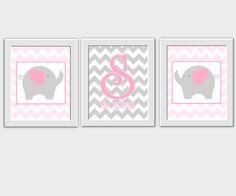 Personalized Baby Nursery Wall Art Gray Pink Grey Chevron Elephants Monogram Name Girls Room Wall Decor Prints for Baby Girl Nursery Safari Jungle Animal Wall Art Home Decor