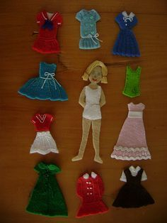 Felt dress-up doll with vintage style clothes