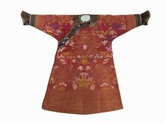 Burgundy Red Silk Robe 'Pao' with Dragons, 19th20th C